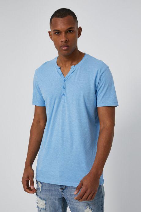 Bawełniany t-shirt męski z guzikami niebieski