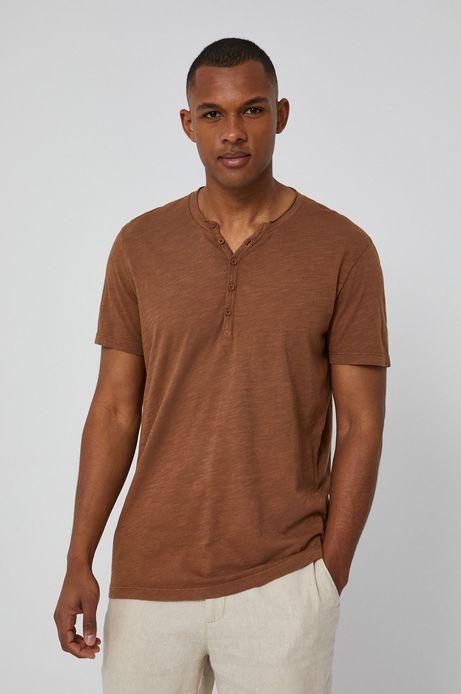 Bawełniany t-shirt męski z guzikami brązowy