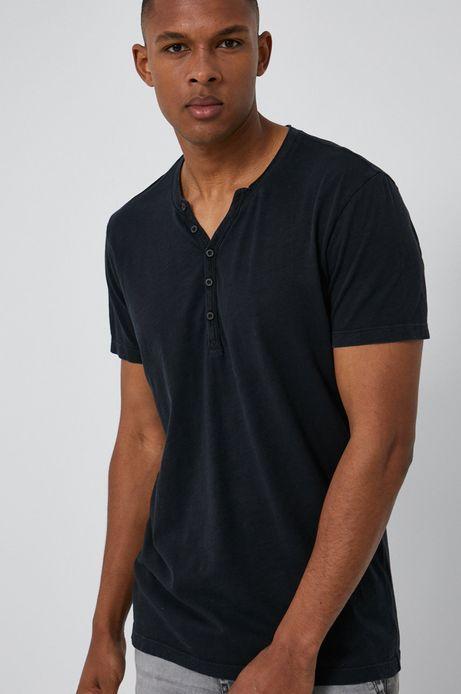 Bawełniany t-shirt męski z guzikami czarny