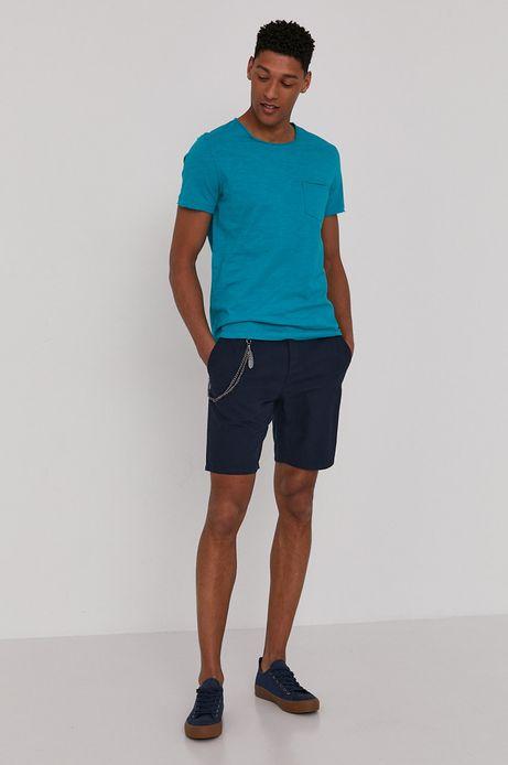 Bawełniany t-shirt męski z kieszonką turkusowy