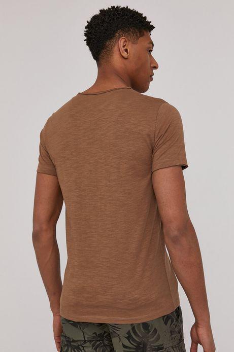 Bawełniany t-shirt męski z kieszonką brązowy