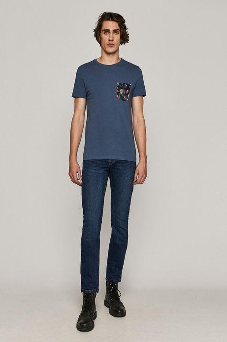 T-shirt męski z kolekcji EVIVA L'ARTE z bawełny organicznej niebieski