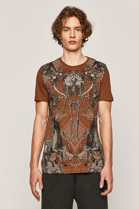 Bawełniany t-shirt męski z nadrukiem brązowy
