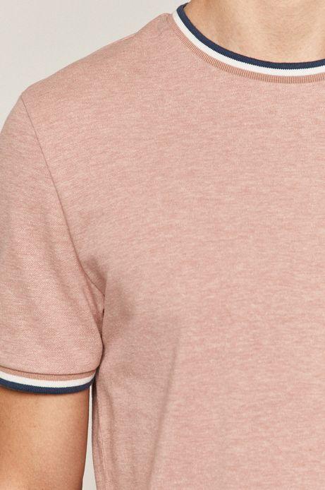 T-shirt męski z gładkiej dzianiny fioletowy
