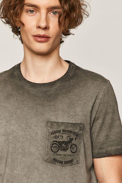 T-shirt męski z kieszonką szary