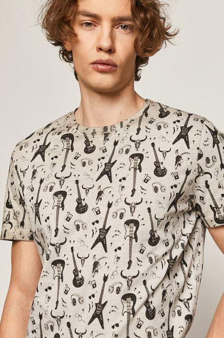 T-shirt męski z nadrukiem w gitary szary