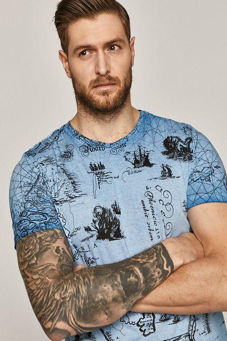 Bawełniany t-shirt męski z wzorzystej dzianiny niebieski