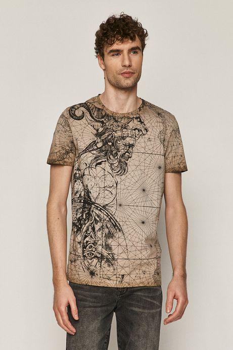 T-shirt męski z wzorzystej dzianiny brązowy