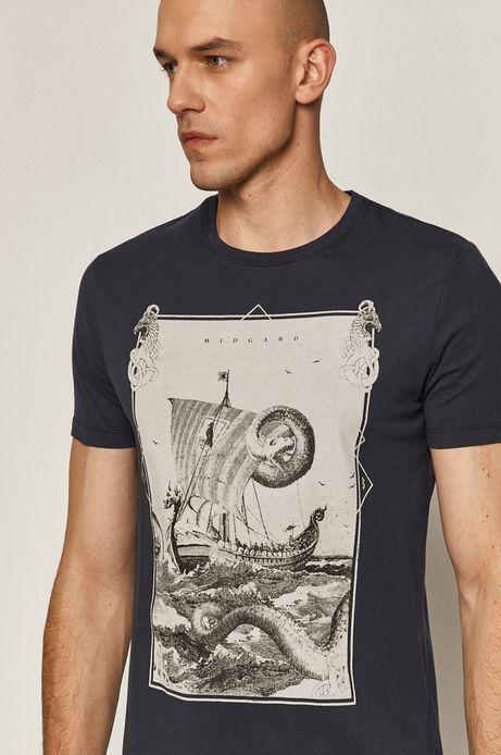 T-shirt męski z bawełny organicznej granatowy