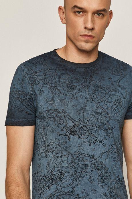 Wzorzysty t-shirt męski z bawełnianej dzianiny granatowy