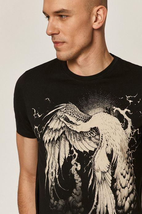 T-shirt męski z bawełny organicznej by Piotr Bemben, Tattoo Art czarny