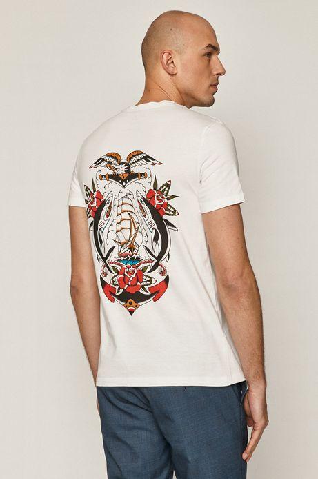 T-shirt męski z bawełny organicznej by Gruby Kruk, Tattoo Art biały