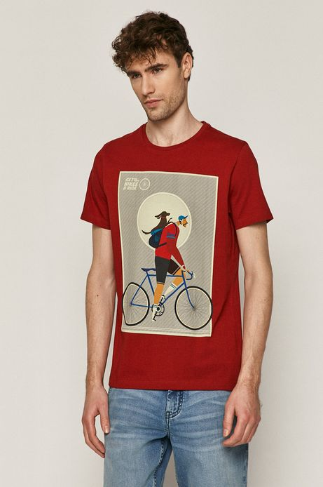 T-shirt męski z bawełny organicznej pomarańczowy