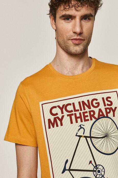 T-shirt męski z bawełny organicznej żółty