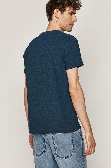 Bawełniany t-shirt męski z nadrukiem niebieski
