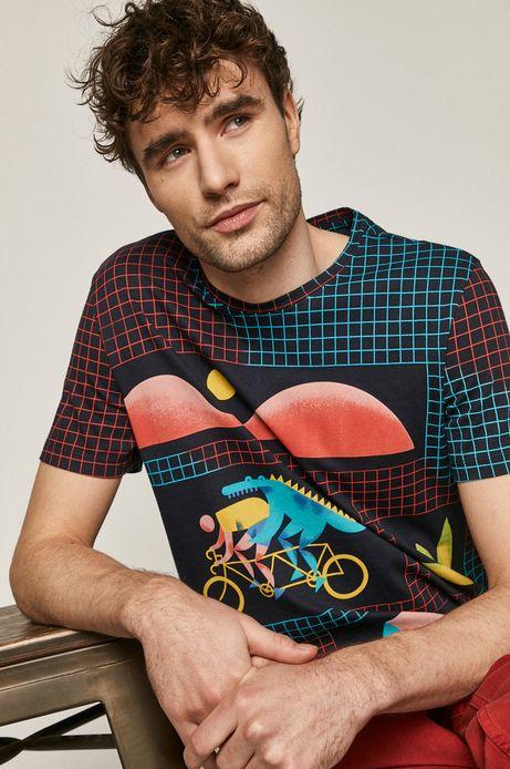 T-shirt męski z bawełny organicznej Projekt: Rower granatowy