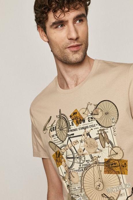 T-shirt męski z bawełny organicznej Projekt: Rower beżowy