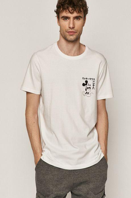 T-shirt męski z nadrukiem Mickey Mouse biały