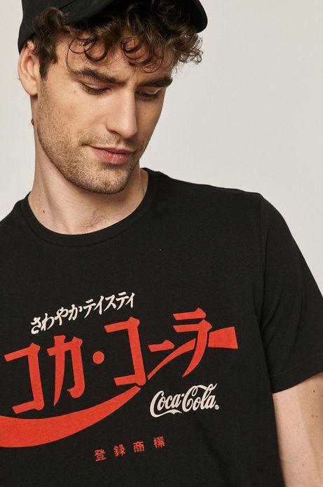 T-shirt męski z nadrukiem Coca-Cola czarny
