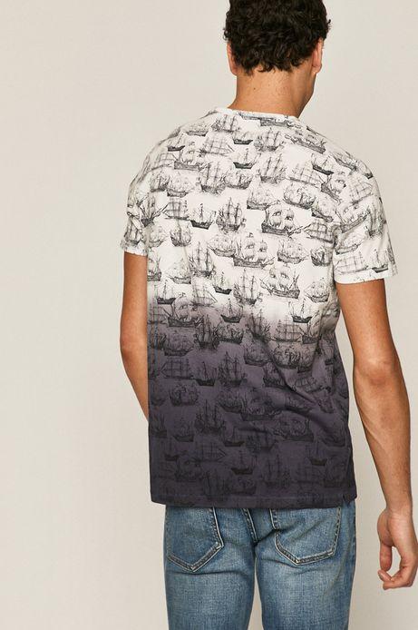 Bawełniany T-shirt męski w statki granatowy