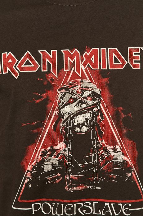 T-shirt męski z nadrukiem Iron Maiden szary