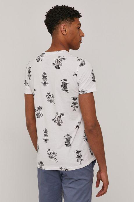 Bawełniany t-shirt męski wzorzysty biały
