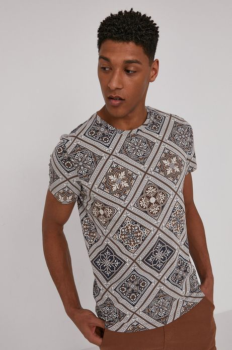T-shirt męski z bawełny organicznej brązowy