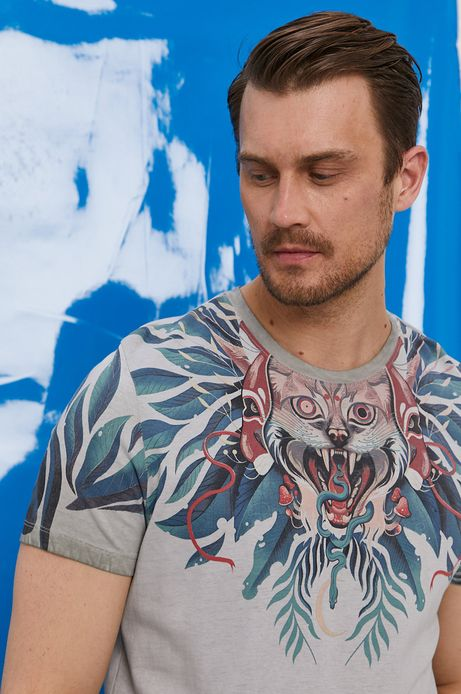 T-shirt męski by Iza Dudzik, Grafika Polska szary
