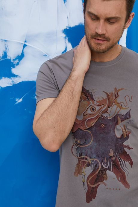 T-shirt męski z bawełny organicznej by Iza Dudzik, Grafika Polska szary