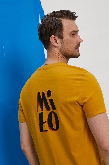 T-shirt męski  z bawełny organicznej by Marta Przeciszewska, Grafika Polska niebieski