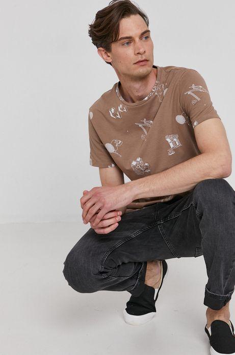 T-shirt męski z bawełny organicznej beżowy