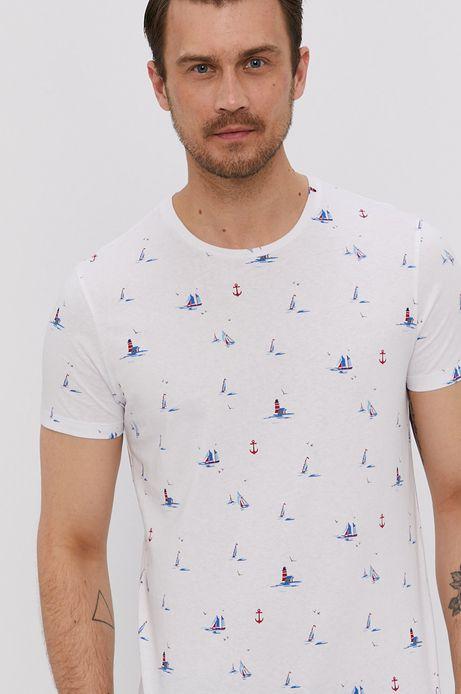 Bawełniany t-shirt męski w żaglówki biały