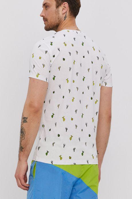 Bawełniany t-shirt męski w kaktusy biały