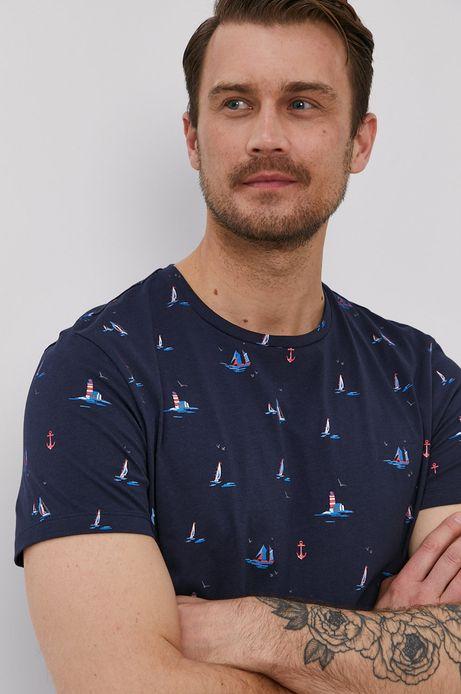 Bawełniany t-shirt męski w żaglówki granatowy