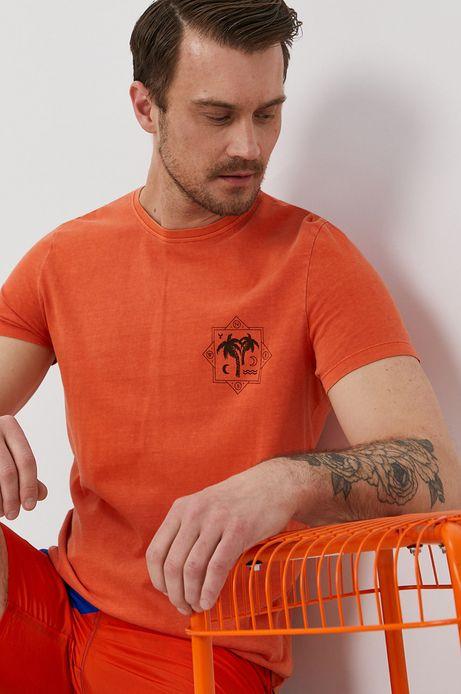 Bawełniany t-shirt męski z nadrukiem pomarańczowy
