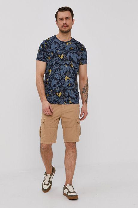 Bawełniany t-shirt męski z wzorzystej dzianiny granatowy