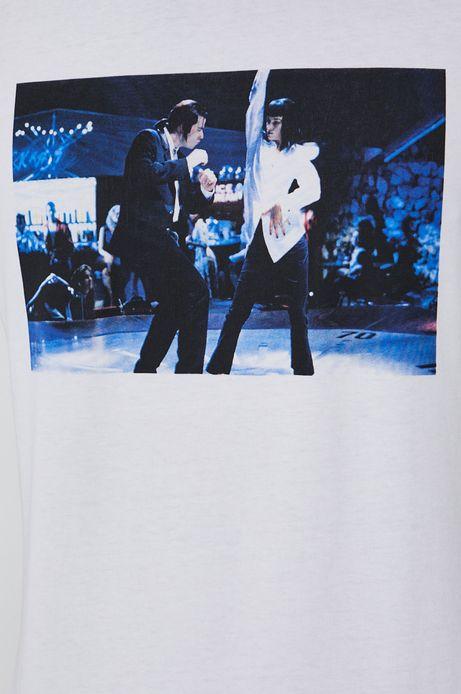 T-shirt męski z bawełny organicznej z nadrukiem Pulp Fiction biały