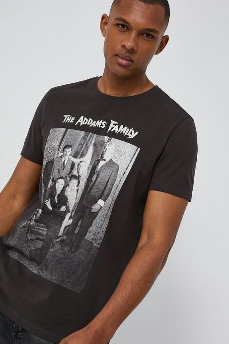 T-shirt męski z bawełny organicznej z nadrukiem The Addams Family czarny