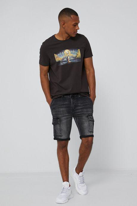 T-shirt męski z bawełny organicznej z nadrukiem Columbia Pictures szary