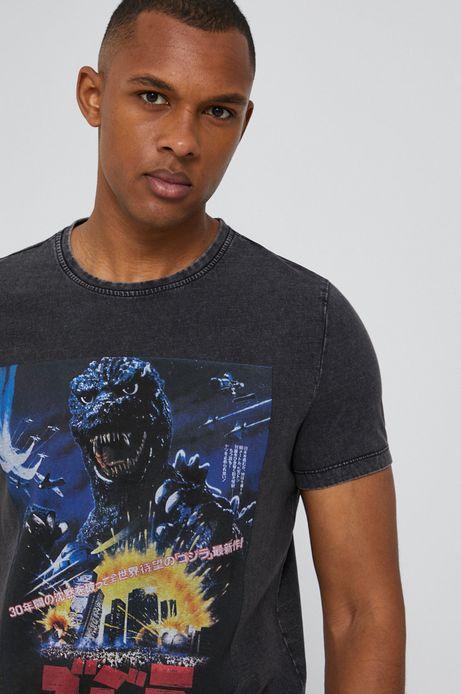 T-shirt męski z nadrukiem Godzilla czarny