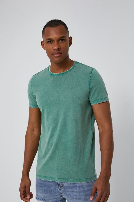 T-shirt męski z efektem acid wash zielony