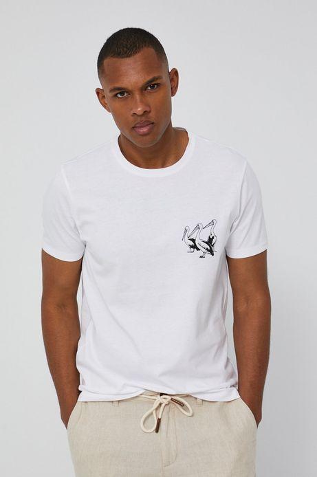 T-shirt męski z bawełnianej dzianiny biały