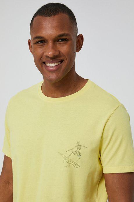 T-shirt męski z bawełnianej dzianiny żółty