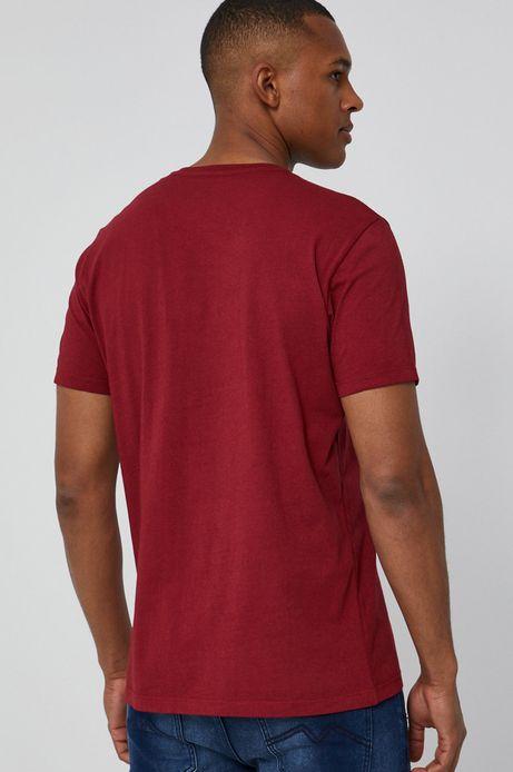 T-shirt męski z bawełnianej dzianiny czerwony