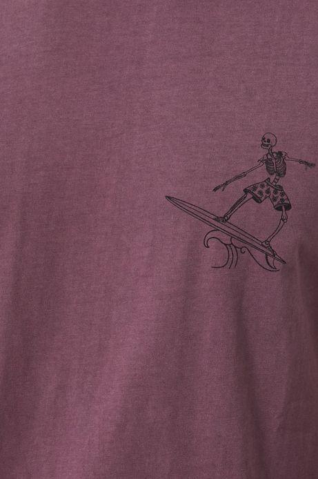 T-shirt męski z bawełnianej dzianiny różowy