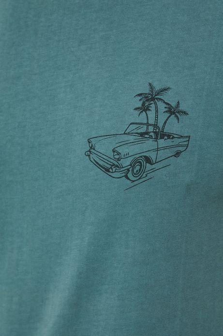 T-shirt męski z bawełnianej dzianiny zielony