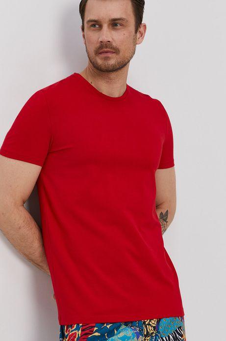 T-shirt męski z gładkiej dzianiny czerwony
