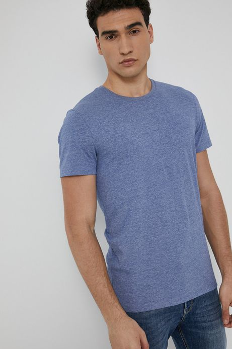 T-shirt męski z gładkiej dzianiny niebieski