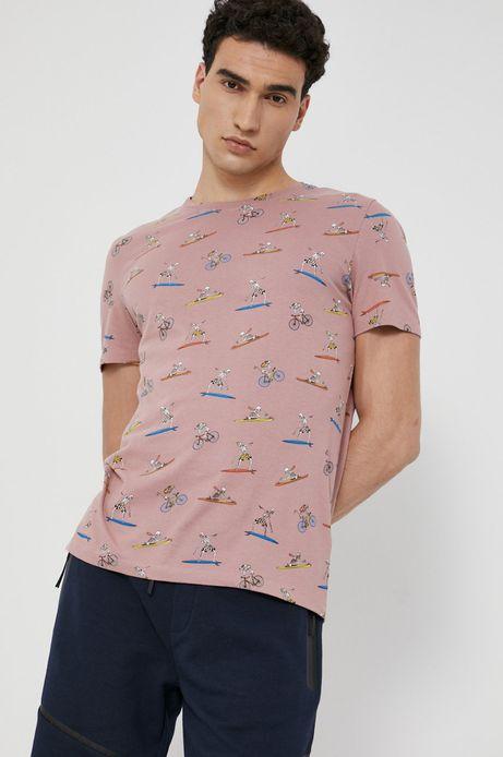 T-shirt męski z bawełny organicznej różowy