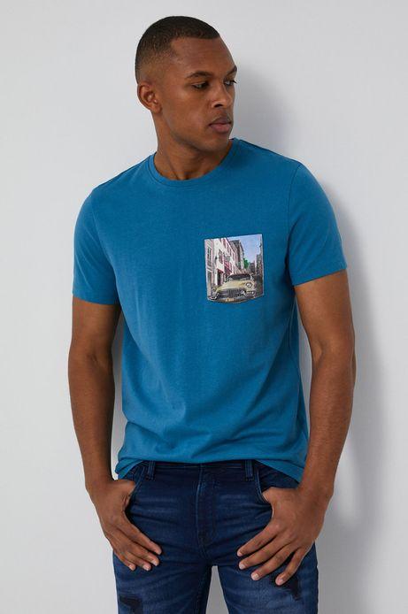 T-shirt męski z bawełny organicznej niebieski